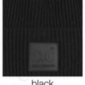 CC SOLID RIBBED KNIT BEANIE WITH RUBBER PATCH