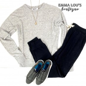 2 Piece Jogger Set w/Grey Sweater & Black Pants