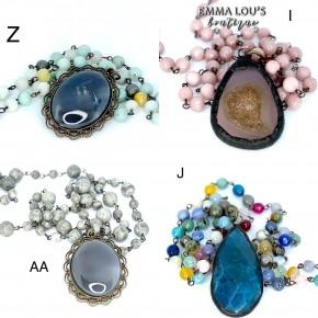 "Melania Clara ""Mila"" Long Beaded Necklace with Stone Pendant"