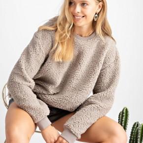 Fuzzy Crew Neck Sweatshirt