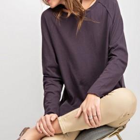 Long Sleeve Slub Knit Tunic