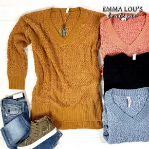 V Neck Cable Popcorn Knit Sweater