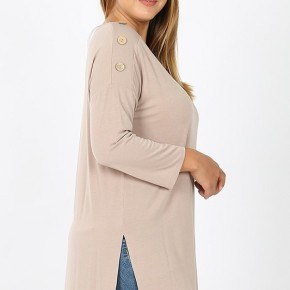 Boat Neck High-Low Top with 3/4 Length Sleeve and 3 Button Detail