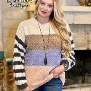 Stripe Color Block Slouchy Sweater Top
