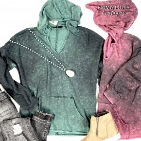 Mineral Wash Long Sleeve Hoodie w/Front Pocket