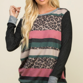 ANIMAL WITH COLOR BLOCK STRIPED LONG SLEEVE TOP