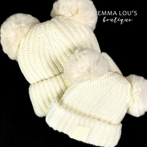 CC Double Pom Knit Beanie Adult and Child Size