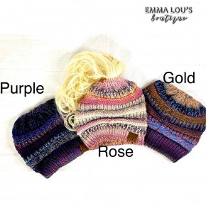 CC Cable Knit Ponytail Beanie