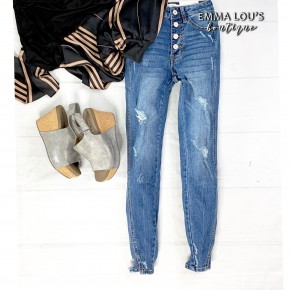 KanCan Exposed Front Button Super Skinny Jeans