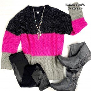 Color Block Black & Pink Knit Sweater