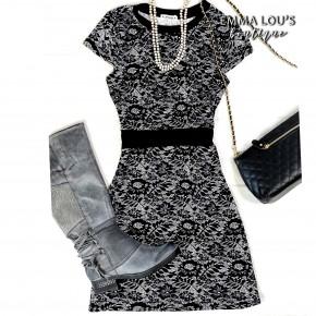 Black Lace Print Winter Tunic Dress