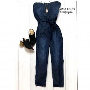 Judy Blue Tube Top Jumpsuit w/Tassel Belt Detail