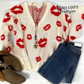 Low V-Neck Long Sleeve White Sweater w/Red Lips