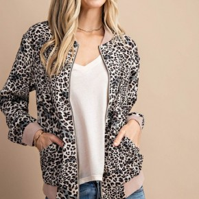 """Leopard """"Amy"""" Bomber Jacket with Pockets"""