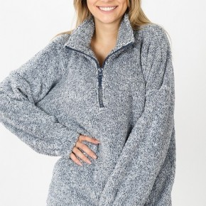 Sherpa Half Zip Pullover with Kangaroo Pocket