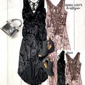 POL Sleeveless Crushed Velvet Dress