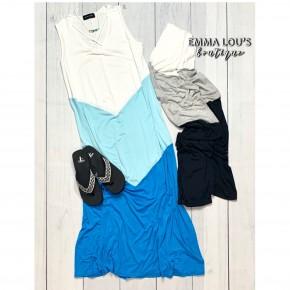 Sleeveless Chevron Color Block Maxi Dress w/Lace Up V-Neckline *Final Sale*