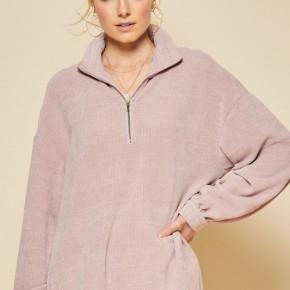 Chenille Fabric Outwear w/Zipper Detail on Center
