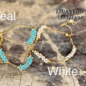 12 DAYS OF CHRISTMAS DEAL: Melania Clara Stella Gold Adjustable Bracelet with Semi Precious Stones