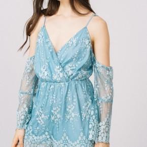 Embroidered Mesh Lace Cold Shoulder Romper