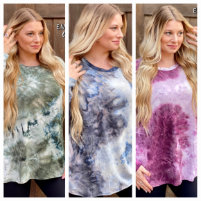 BLACK FRIDAY Over Sized Long Sleeve Tie Dye Top