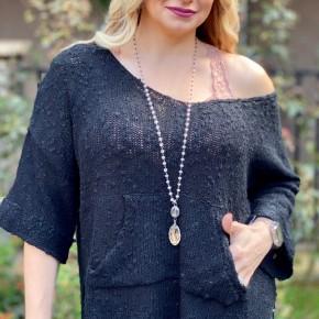 Easel Knit Dolman Sleeve Sweater