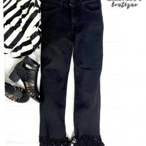Judy Blue Frayed Hem Straight Crop Black Jeans