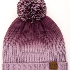 CC Ombre Purple Knit Beanie with Pom