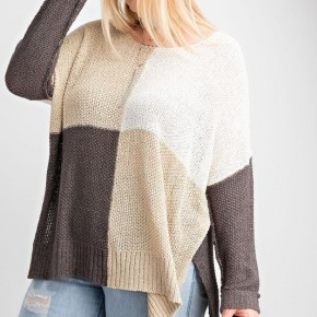 Color Blocked Boxy Sweater Knit Top