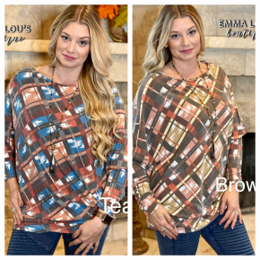 CHECK IN ONE SLOUCH TUNIC TOP