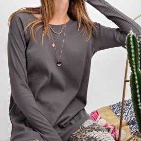 Easel Rib Knit Tunic Top
