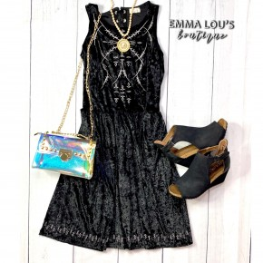POL  Corset Bodice Velvet Dress w/Embroidered Details *Final Sale*