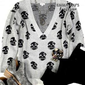 Long Sleeve Grey Low V-Neck Sweater w/Black Skulls