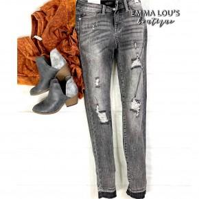 Judy Blue Grey Destroy Release Hem Jeans