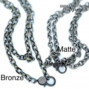 """36"""" LONG MATTE OVAL HEMATITE CHAIN LINK WITH CZ CLASP"""