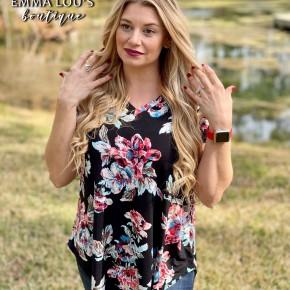 "Short Sleeve V-Neck ""Lily"" Floral Print Top"