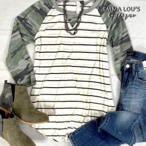 3/4 Camo Sleeve Raglan Striped Top