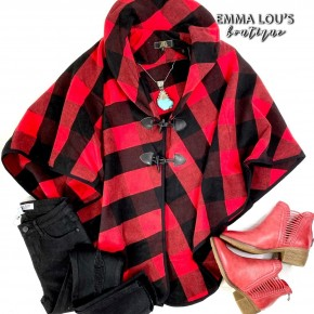 One Size Red Buffalo Plaid Poncho