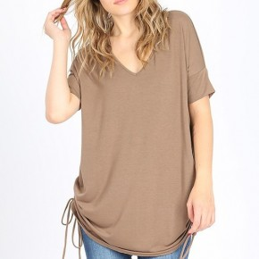 Short Sleeve V-Neck Ruched Top