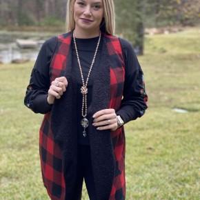 Honeyme Red & Black Checkered Vest
