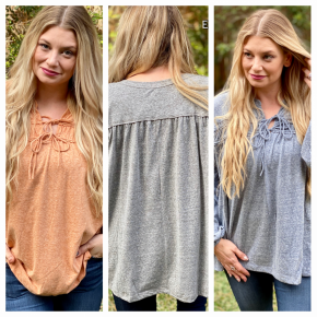 Heathered Slouchy Bubble Sleeve Top