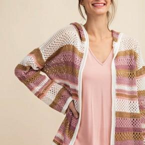 "Net Textured Multi Colored Stripe ""Dawn"" Hooded Cardigan"