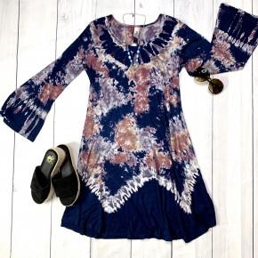 Tie Dye OS Long Sleeve Dress