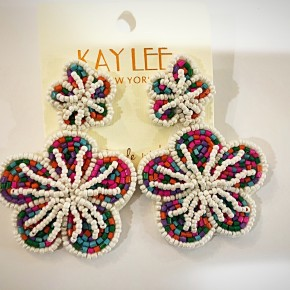 12 DAYS OF CHRISTMAS: Beaded Brightly Colored Flower 2 Pack Earrings