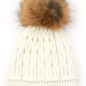 Ivory Cable Beanie With Grey Color Trim and Fur Pom
