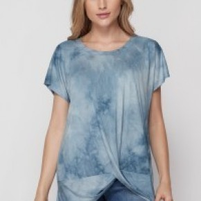 Short Sleeve Mineral Wash Top w/Twist Hem