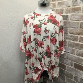 Cream Floral Bell Sleeve with Twisted Knot at the Bottom