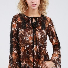 POL Flowy Floral Lace Babydoll Long Sleeve Top w/Bell Sleeves