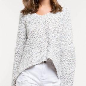 Cloud Everyday Popcorn Crop Top V-Neck Sweater