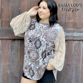 BLACK FRIDAY Crinkle Gauze Top w/Lace Balloon Sleeves